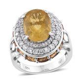 Canary Fluorite, Brazilian Citrine, Cambodian Zircon Platinum Over Sterling Silver Ring (Size 6.0) TGW 10.21 cts.