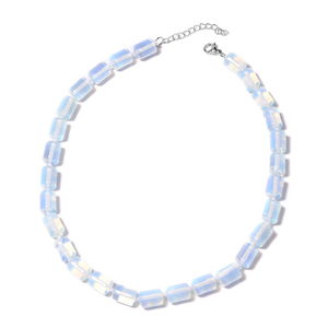 Opalite Beads Sterling Silver Necklace (18 in) TGW 331.00 cts.