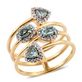 Madagascar Paraiba Apatite, Cambodian Zircon 14K YG Over Sterling Silver Ring (Size 5.0) TGW 1.51 cts.