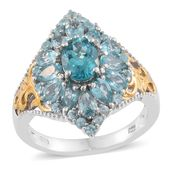 Madagascar Paraiba Apatite 14K YG and Platinum Over Sterling Silver Ring (Size 5.0) TGW 4.34 cts.