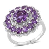 Amethyst, White Topaz Sterling Silver Ring (Size 6.0) TGW 5.43 cts.