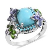 Arizona Sleeping Beauty Turquoise, Tanzanite, Russian Diopside Platinum Over Sterling Silver Ring (Size 11.0) TGW 6.04 cts.