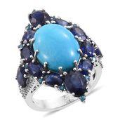 Arizona Sleeping Beauty Turquoise, Multi Gemstone Platinum Over Sterling Silver Ring (Size 11.0) TGW 21.93 cts.