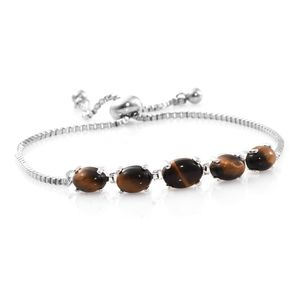South African Tigers Eye Stainless Steel Magic Ball Bracelet (Adjustable) (9.50 In) TGW 5.46 cts.