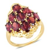 Mozambique Garnet 14K YG Over Sterling Silver Ring (Size 5.0) TGW 8.35 cts.