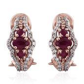 Burmese Ruby, Cambodian Zircon 14K RG Over Sterling Silver Earrings TGW 1.72 cts.