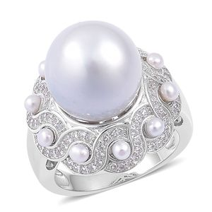 White South Sea Pearl (12.5-13 mm), Freshwater Pearl, White Zircon Sterling Silver Ring (Size 6.0) 0 TGW 0.75 cts.