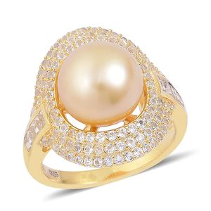 South Sea Golden Pearl (11-12 mm), White Topaz 14K YG Over Sterling Silver Ring (Size 10.0) TGW 1.55 cts.