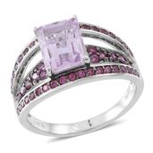 Rose De France Amethyst, Orissa Rhodolite Garnet Sterling Silver Bridge Ring (Size 9.0) TGW 4.50 cts.