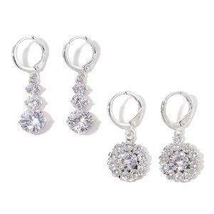 Simulated White Diamond Silvertone Set of 2 Earrings TGW 7.00 cts.