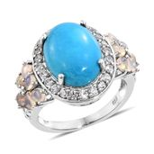 Arizona Sleeping Beauty Turquoise, Ethiopian Welo Opal, Cambodian Zircon Platinum Over Sterling Silver Ring (Size 8.0) 0 TGW 9.91 cts.
