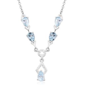Sky Blue Topaz Sterling Silver Necklace With Chain (18 in) TGW 2.10 cts.