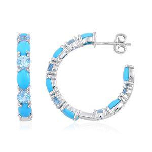 Arizona Sleeping Beauty Turquoise, Swiss Blue Topaz Sterling Silver Inside Out Half Hoop Earrings TGW 6.75 cts.
