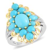 Arizona Sleeping Beauty Turquoise 14K YG Over and Sterling Silver Ring (Size 6.0) TGW 3.10 cts.