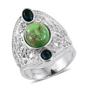 Mojave Green Turquoise Stainless Steel Elongated Openwork Ring (Size 7.0) Made with SWAROVSKI Emerald Crystal TGW 5.75 cts.