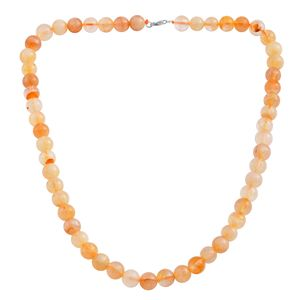 Brazilian Citrine Beads Sterling Silver Necklace (18 in) TGW 213.50 cts.