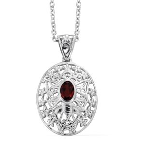 Mozambique Garnet Platinum Over Sterling Silver Butterfly Openwork Pendant With Stainless Steel Chain (20 in) TGW 0.60 cts.
