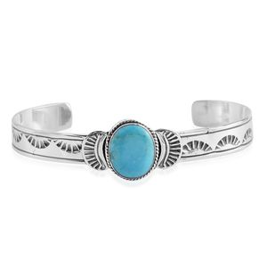 Santa Fe Style Kingman Turquoise Sterling Silver Cuff (7.00 In) TGW 0.80 cts.