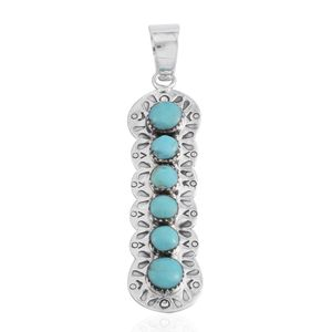 Santa Fe Style Kingman Turquoise Sterling Silver Pendant without Chain TGW 1.25 cts.