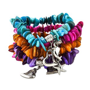 Bali Legacy Collection Multi Color Shell Set of 5 Bracelets (Stretchable) with Charms