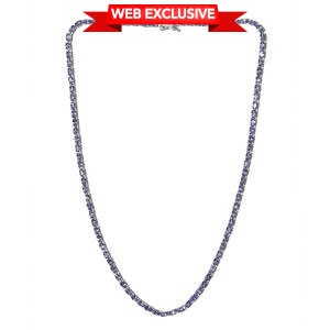 Premium AAA Tanzanite Platinum Over Sterling Silver Oval Tennis Necklace (20 in) TGW 23.75 cts.