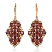 Mozambique Garnet, Cambodian Zircon 14K YG Over Sterling Silver Lever Back Earrings TGW 15.05 cts.
