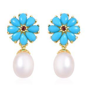 Freshwater Pearl, Arizona Sleeping Beauty Turquoise. Mozambique Garnet 14K YG Over Sterling Silver Earrings TGW 2.72 cts.