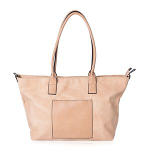Tan Faux Leather Tote Bag (20x14x11.6 in)