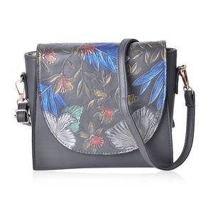 Pewter Faux Leather Floral Painted Saddle Clutch (7.5x3x7 in) with Removable Crossbody Strap (46 in)