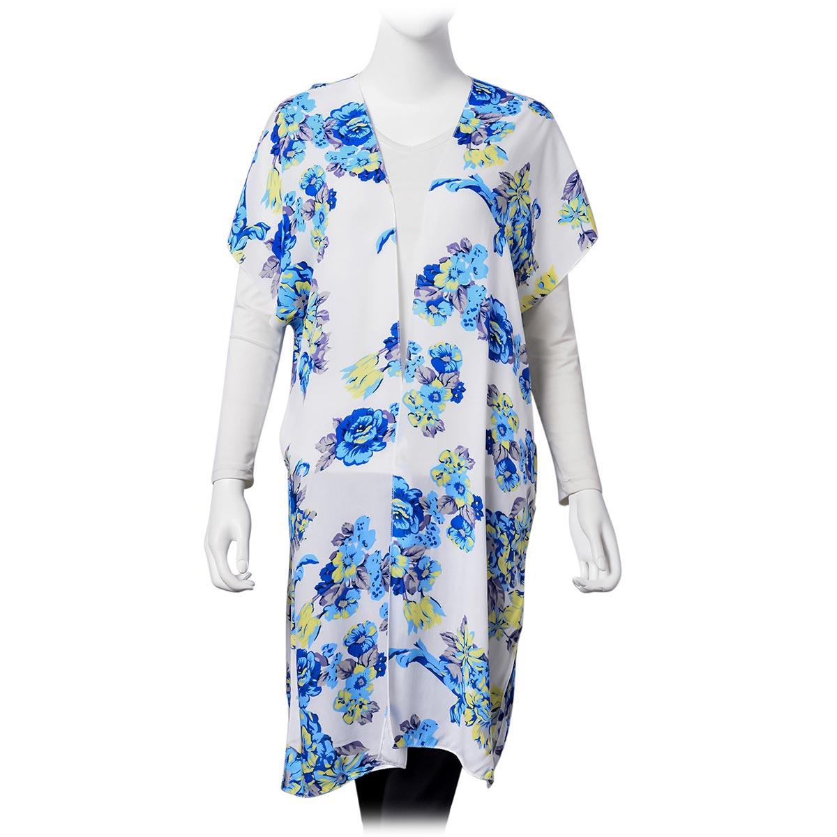 White 100% Viscose Multi Color Flower Print Open Sleeveless Cardigan (One Size)