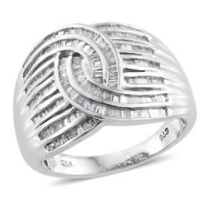 Diamond Platinum Over Sterling Silver Twisted Knot Ring (Size 9.0) TDiaWt 1.00 cts, TGW 1.00 cts.