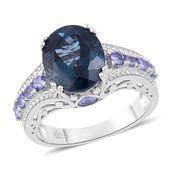 London Blue Topaz, Tanzanite Sterling Silver Ring (Size 9.0) TGW 7.03 cts.