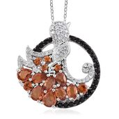 Red Sapphire, Thai Black Spinel, Cambodian Zircon Platinum Over Sterling Silver Pendant With Chain (20 in) TGW 4.26 cts.