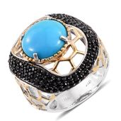 Arizona Sleeping Beauty Turquoise, Thai Black Spinel 14K YG and Platinum Over Sterling Silver Ring (Size 7.0) TGW 10.16 cts.