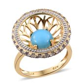 Arizona Sleeping Beauty Turquoise, Tanzanite 14K YG Over Sterling Silver Ring (Size 7.0) TGW 2.75 cts.
