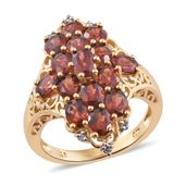 Mozambique Garnet, Cambodian Zircon 14K YG Over Sterling Silver Ring (Size 6.0) TGW 7.50 cts.