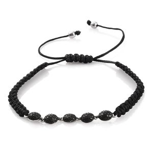 Black Diamond Accent (IR) Platinum Over Sterling Silver Bracelet on Black Cord (Adjustable)