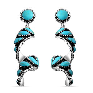 Santa Fe Style Kingman Turquoise, Turquoise Sterling Silver Dangle Swirl Earrings TGW 14.00 cts.