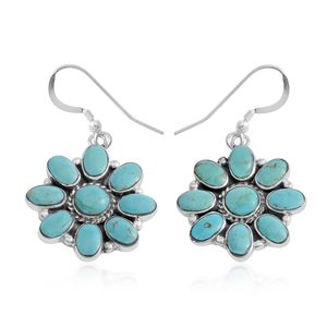 Santa Fe Style Kingman Turquoise Sterling Silver Floral Dangle Earrings TGW 15.75 cts.