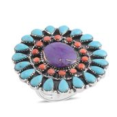 Santa Fe Style Mojave Purple Turquoise, Multi Gemstone Sterling Silver Ring (Size 9.0) TGW 8.00 cts.