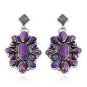 Santa Fe Style Mojave Purple Turquoise Sterling Silver Drop Flower Earrings TGW 4.75 cts.