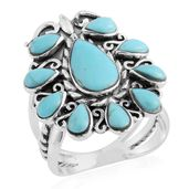 Santa Fe Style Kingman Turquoise Sterling Silver Ring (Size 10.0) TGW 2.50 cts.