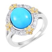 Arizona Sleeping Beauty Turquoise, White Zircon 14K YG Over and Sterling Silver Ring (Size 6.0) TGW 3.80 cts.