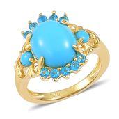 Arizona Sleeping Beauty Turquoise, Malgache Neon Apatite14K YG Over Sterling Silver Ring (Size 6.0) TGW 2.96 cts.