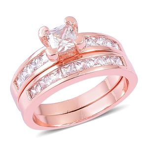 Set of 2 Simulated Diamond Rosetone Rings (Size 8) TGW 1.30 cts.