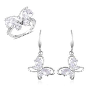 Simulated White Diamond Silvertone Butterfly Threader Earrings and Ring (Size 10) TGW 7.00 cts.