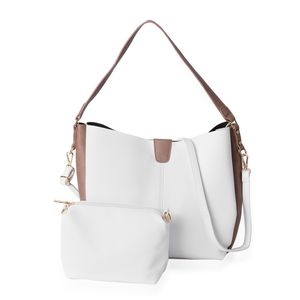 White and Brown Faux Leather Tote Bag (12x4.6x11 in) and Pouch Bag (7.2x3.2x6 in)