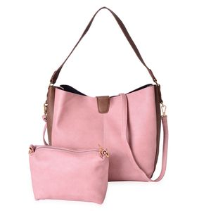 Dusty Pink and Brown Faux Leather Magnetic Closure Shoulder Bag (14x5x11 in) and Matching Crossbody Pouch Bag and Removable Strap (9x2.5x6 in)
