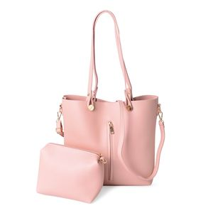 Light Pink Faux Leather Tote Bag (14.4x11.2x12.2 in) and Pouch Bag (7.2x3.4x7 in)
