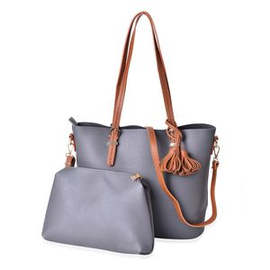 Gray and Brown Faux Leather Tote Bag (15.4x13x11.3 in) and Pouch Bag (11x2.4x7.4 in)